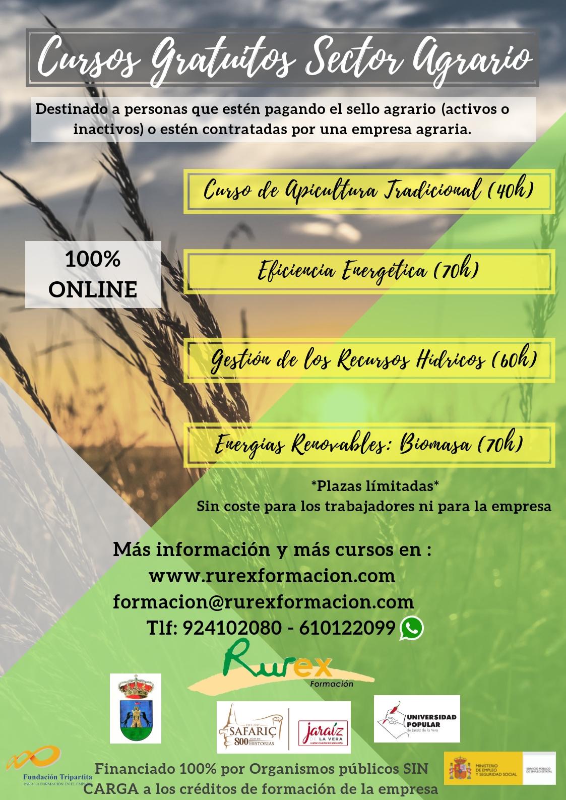Cursos ON LINE gratuitos para el Sector Agrario