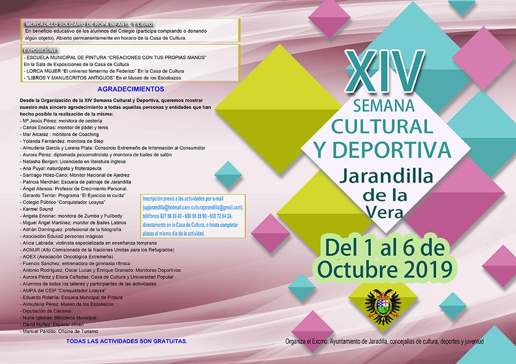 Programa de la semana cultural de Jarandilla de la Vera