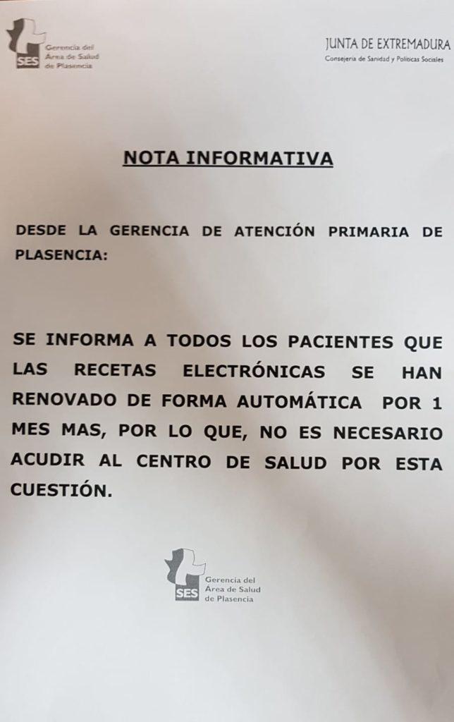 Información del Centro de Salud de Jaraíz de la Vera
