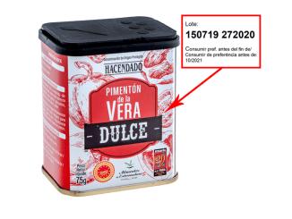Pimentón de la Vera Dulce Hacendado fabricado por Orencio Hoyo