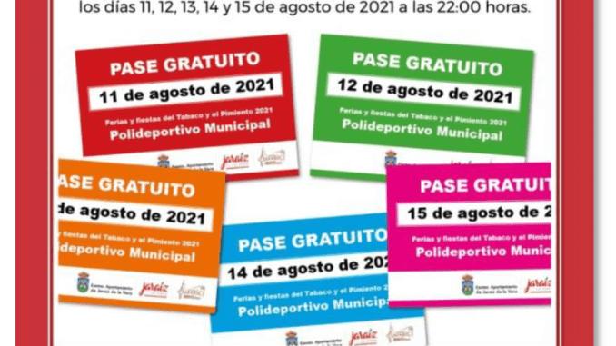 Pases Gratuitos - Fiestas de Jaraíz de la Vera 2021