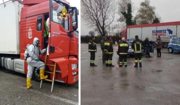 Camionero, fallecido, localizado, muerto, cabina, camión, empresa, bomberos,