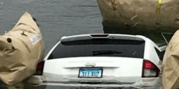 conductora, Estados Unidos, GPS, coche., lago, helado,