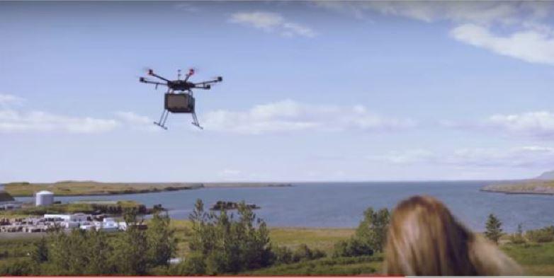 transporte, comida, drones, Islandia,