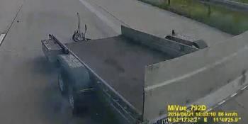 automóvil, remolque, pierde, autopista, camión, accidente,