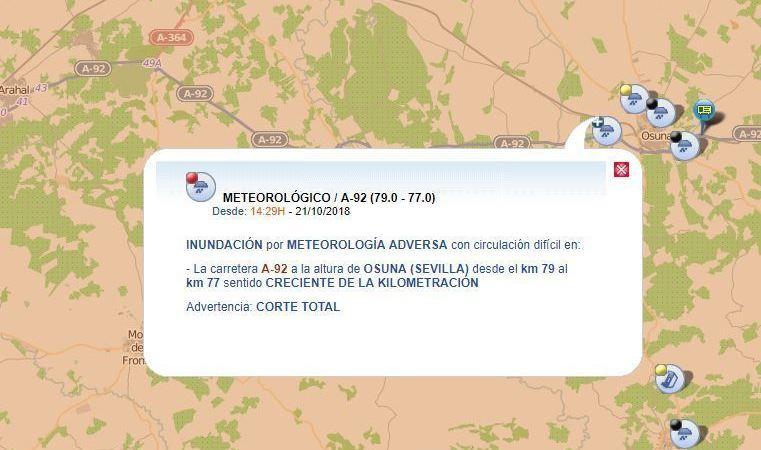 cortada, A-92, Osuna. Sevilla, inundaciones,