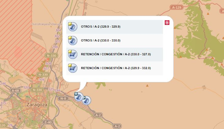 retenciones, A-2,Zaragoza, varios, accidentes,