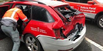 herido, policía foral, chocar, camión, vehículos, N-121-A,