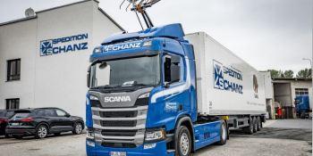 Scania R 450, Spedition Schanz, primera, carretera, eléctrica, alemana,