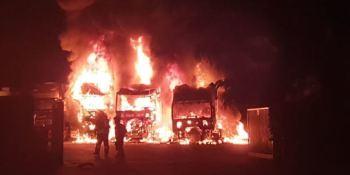 incendio, intencionado, camiones, empresa, transporte,