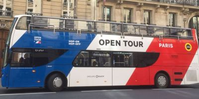 primer, autobús, turístico, gas, mundo, opera, París,