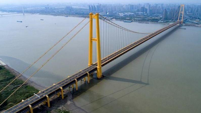 abierto, tráfico, puente colgante, doble, piso, largo, mundo, fotos,