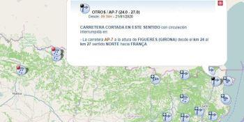 cortada, AP-7, Figueres, frontera, Francia, nieve,