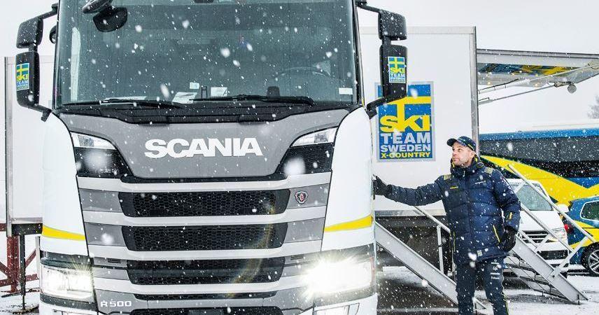 conductor, camión, Scania, equipo, esquí, Suecia,