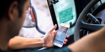 telefono, conduciendo, riesgos, camión,