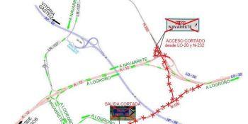 Afecciones al tráfico en la N-120 por las obras de la A-68