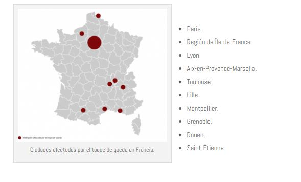 Los conductores que circulen en las ciudades francesas con toque de queda deberán llevar un certificado