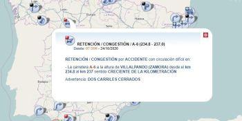 4 heridos en la colisión entre un coche y un camión en la A-6