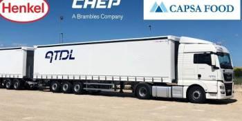 Henkel, Capsa Food y CHEP reducen emisiones y kilómetros vacíos gracias al dúo-trailer