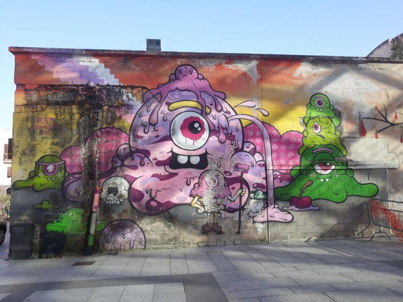 murale di Buff Monster in Piazza Mercato a Olbia