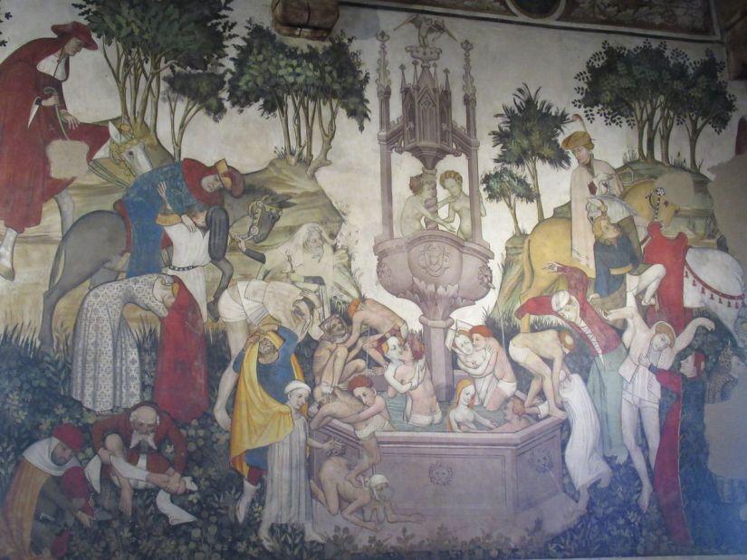 Fontana della Giovinezza nella sala baronale del castello della Manta