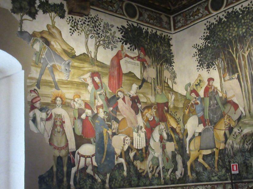 affresco nella sala baronale del castello della Manta