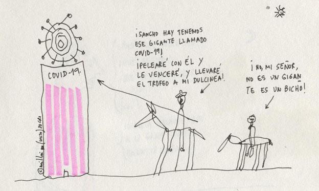 Humor VI 70 El Covid y Alonso Quijano