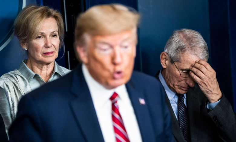 Drs. Deborah Birx and Anthony Fauci listen to President Donald Trump during a Coronavirus Task Force briefing. (Jabin Botsford / The Washington Post via Getty Images)