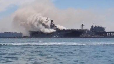 Photo of Bomberos combaten incendio en buque anfibio de la Armada EE.UU. en San Diego, 18 marineros heridos
