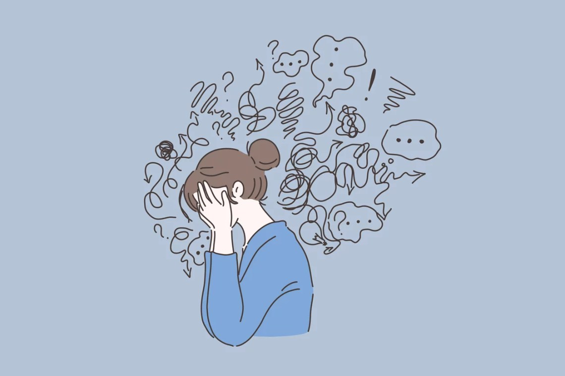 Mental disorder, finding answers, confusion concept. Woman suffering from depression, closing face with palms in despair, girl trying to solve complex problems. Simple flat vector