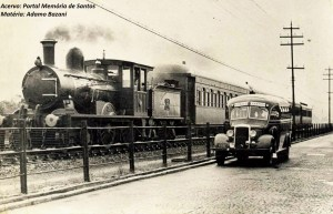 ônibus x trem Santos