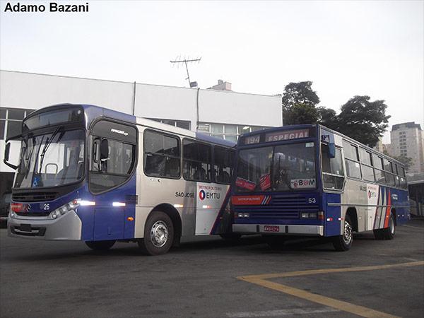 Ônibus da Viação São José, com padrão da EMTU, na garagem da empresa. Caio Vitória foi um dos marcos nos últimos anos da empresa