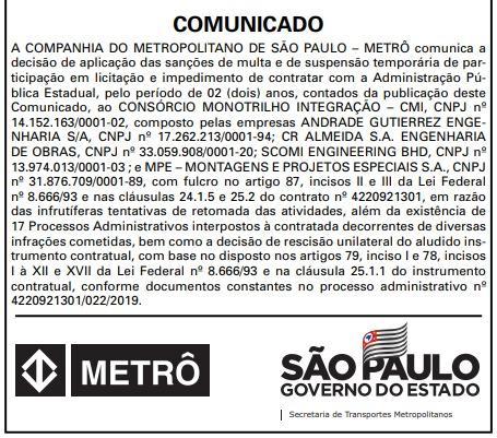 f459abebc3ce Metrô de São Paulo aplica multa e suspensão em licitações a ...