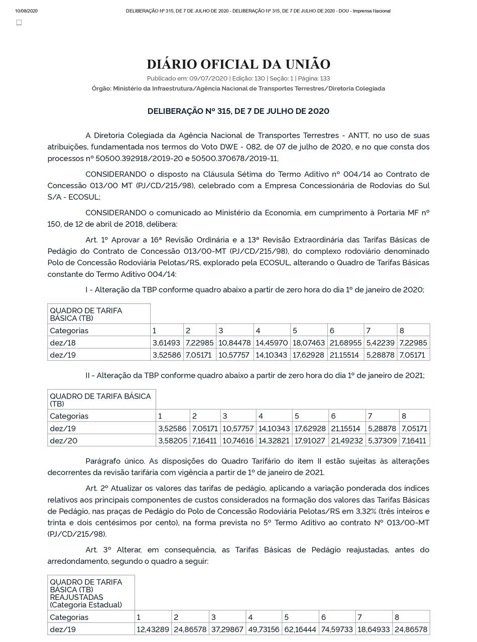 DELIBERAÇÃO Nº 315, DE 7 DE JULHO DE 2020 - DOU - Imprensa Nacional_page-0001