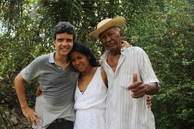Caio César e Kátia Brito (idealizadores do projeto) e Raimundo Brito (proprietário da fazenda São Jerônimo)