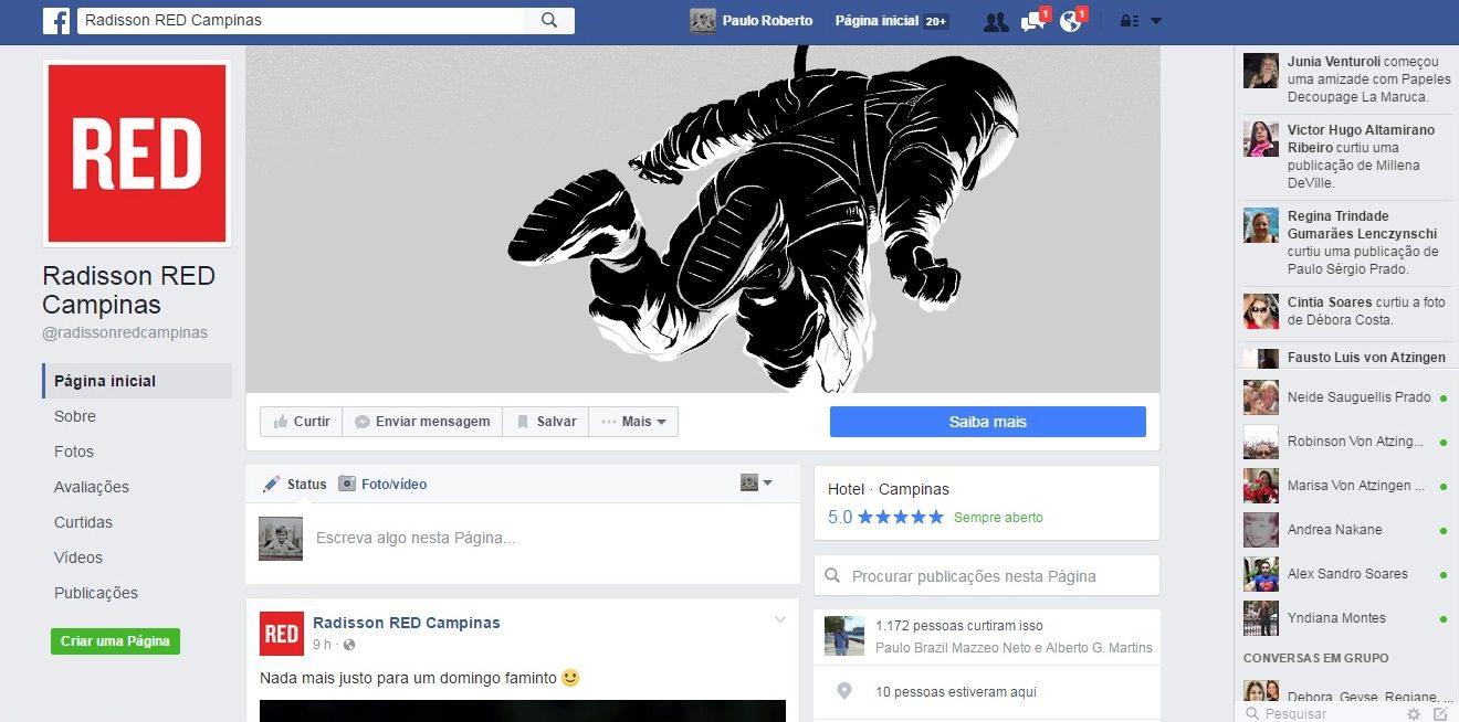 todo o processo de recrutamento e contratação do Radisson Red foi feito via o Facebook