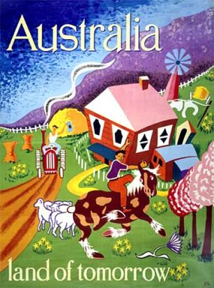 Cartel lanzado en la década de los 40 para atraer inmigración a Australia