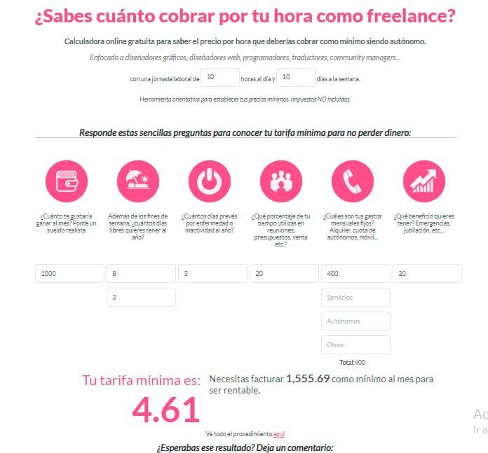 Una calculadora freelance diseñada para el mercado español