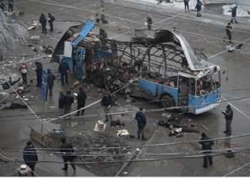 La bomba que estalló esta mañana en un trolebús del transporte público de Volgogrado tenía una potencia equivalente a cuatro kilogramos de trilita