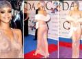 Rihanna lució casi desnuda bajo una túnica de fina y traslúcida malla con miles de cristales