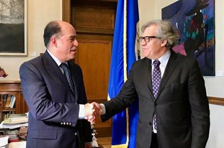 El presidente de la AN sostuvo una reunión con el secretario general de la OEA, Luis Almagro, en la que solicitó el apoyo para que los venezolanos definan electoralmente la solución a la crisis política y humanitaria.