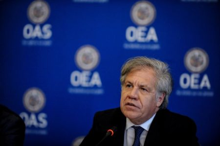 """OAS General Secretary Luis Almagro participates in the Organization of American States (OAS) news conference with a panel of independent international experts who will present their conclusions and recommendations on """"whether crimes against humanity have been committed in Venezuela"""", in Washington, U.S., May 29, 2018. REUTERS/Mary F. Calvert"""