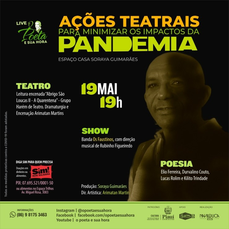Ações teatrais realiza live nesta quarta-feira
