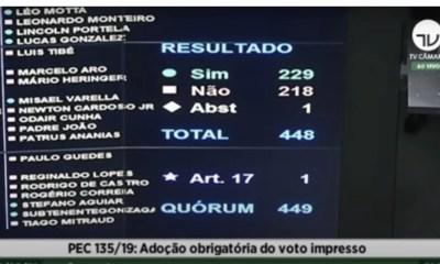 PEC do voto impresso: confira como votaram os deputados do Piauí