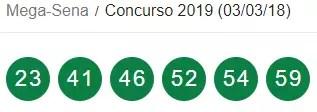 Mega Sena 2019 resultado/ Reprodução Caixa