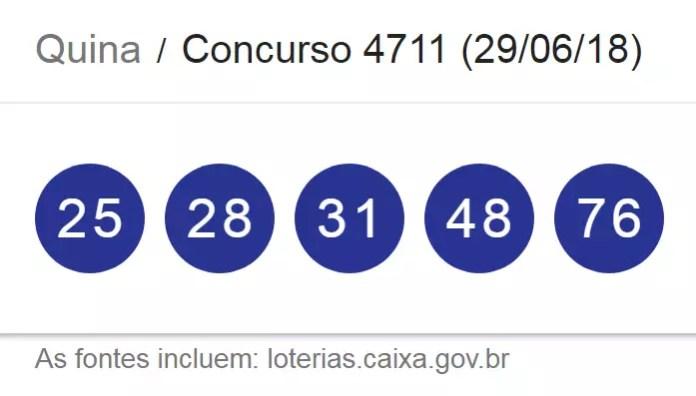 Sorteio Loteria: resultado da Quina desta sexta-feira (29/06) traz 3 milhões pelo concurso 1711