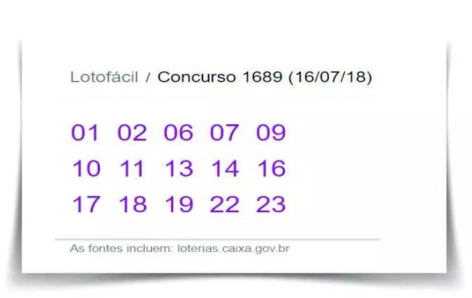 Resultado do Concurso 1689 da Lotofácil desta segunda-feira 16 de julho