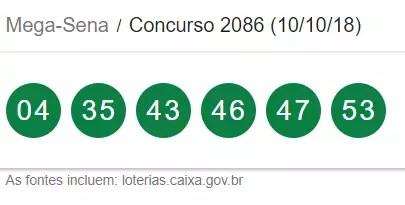 Resultado da Mega-Sena desta quarta-feira, 10 de outubro