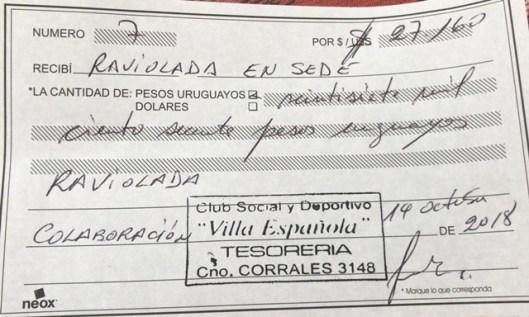 Recibo de lo recaudado por Villa Espanola y su raviolada para recaudar dinero y así seguir jugando en la Segunda división profesional de la AUF