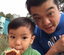 Selfie with baba (image of me and collin taking a snack break